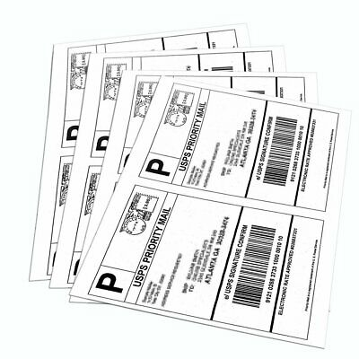 1000 Half Sheet Shipping Labels 8.5x5.5 Self Adhesive For USPS Paypal Amazon