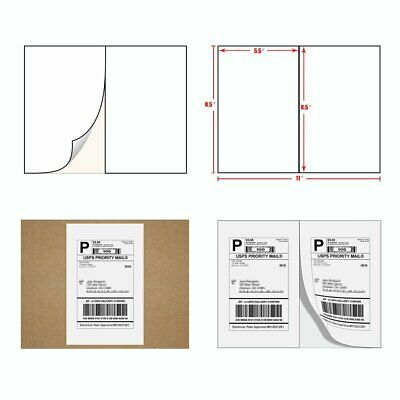 5000 Half Sheet Shipping Labels 8.5x5.5 Self Adhesive For Paypal USPS Postage
