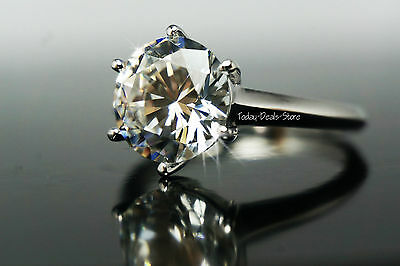 Engagement ring huge 3.00 CT Round Cut Solitaire Real Gold 14K White New