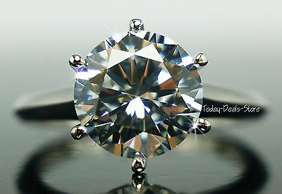 3.00CT Ring Engagement Anniversary VVS/D Round Cut Solitaire Real Gold 14K White
