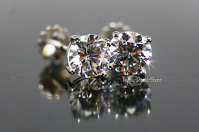 Real Genuine Authentic Geguine 14k gold 2CT  Stud earrings round cut white solid