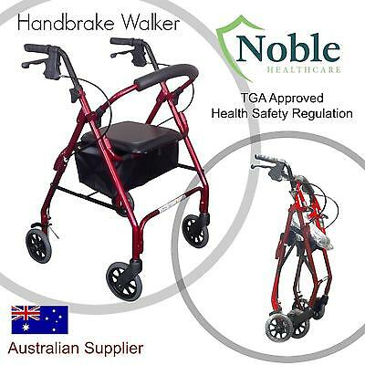Walker with Seat & Handbrakes, Bag, Folding, Rollator, disability, mobility