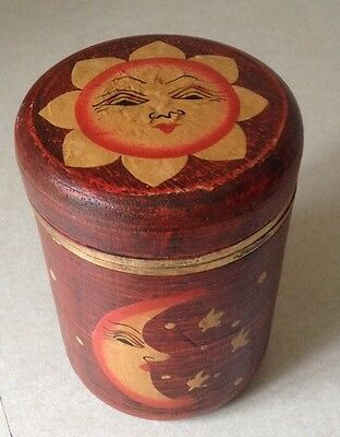 """5 1/2"""" Wood Hand Painted Round Moon And Sun Storage Box/Container"""