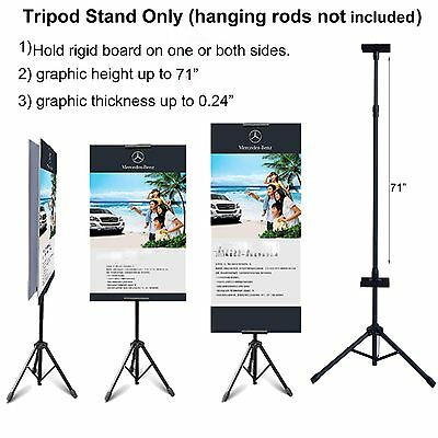 "Double-sided Tripod Banner Stand Height up to 71"" for Pliable or Rigid Graphic"