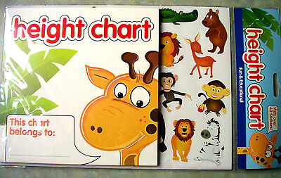 Childs Height Chart BNIP With 40 Stickers and Instructions Jungle Animals Theme