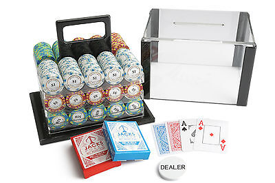 600 Chips Poker Game Set Acrylic Case Monte Carlo 14g Chips Bicycle Cards NEW