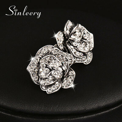 Antique Silver Plated Solid Rose Flower Vintage Stud Earrings For Women ES545