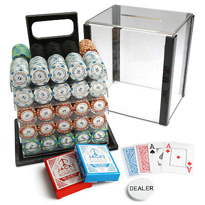 1000 Chips Poker Game Set Acrylic Case Monte Carlo 14g Chips 100% Plastic Cards