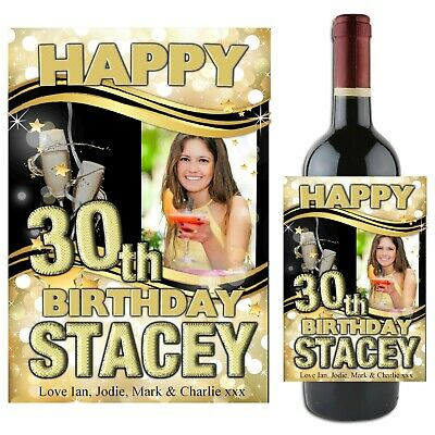 Personalised Happy 18th 21st 30th 40th Birthday Wine Champagne Bottle Label N72