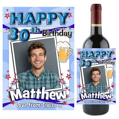 Personalised Happy 18th 21st 30th 40th Birthday Wine Champagne Bottle Label N69