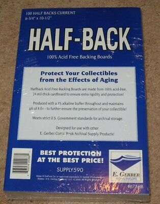 Pack of 100 E Gerber Half Back Premium Archival Current Comic Book Boards