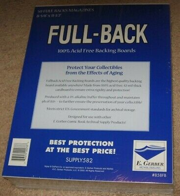 Pack of 50 E Gerber Full Back Premium Archival Magazine Backer Boards
