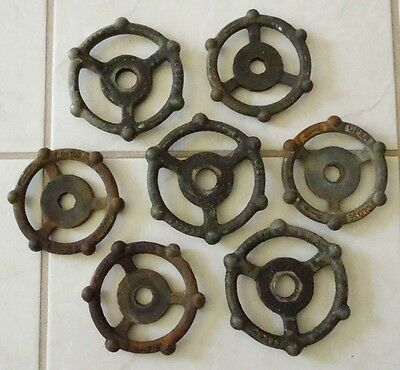(7) Old Cast Iron Water Valve Handles Industrial Art Steampunk Lot #2
