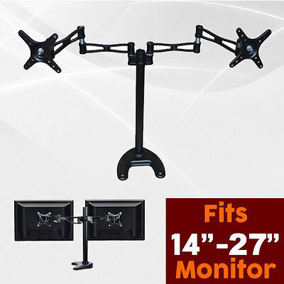 Dual HD LED Desk Mount Monitor Stand Bracket 2 Arm Holds Two LCD Screen