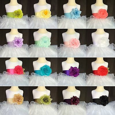 White Organza Ruffle Flower Girl Bridesmaid Easter Christmas Fall Holiday #014