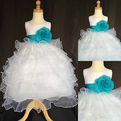 White Organza Ruffle Dress Turquoise Graduation Flower Girl Easter Pageant #014