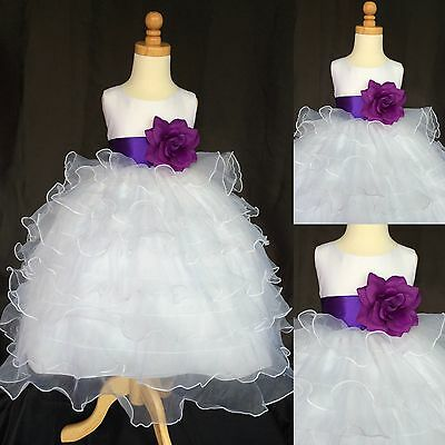 White Organza Ruffle Dress Purple Flower Girl Bridesmaid Recital Pageant #014