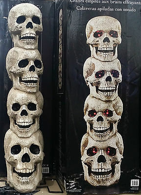 Huge 104cm Motion Activated 4 Light Up Stacked Skulls Halloween Weird Strange