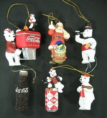 Coca Cola Variety of 6 Small Christmas Ornaments - New from 1990s & Early 2000s