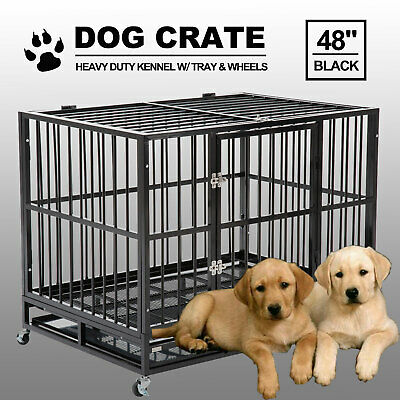 "48"" Black Heavy Duty Dog Crate Cage Pet Kennel Playpen Exercise w/ Metal Tray US"