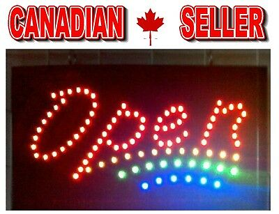 LED OPEN SIGN Animated Motion Running On/Off Switch Bright Light Neon