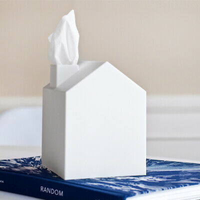 NEW Umbra Casa Square Tissue Box Cover White Plastic House Design