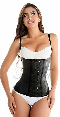 Latex Semi Vest Waist Trainer Cincher Chaleco Fajas Colombianas Reductoras Black