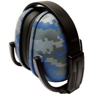 1 Pair Blue Digital Camo Ear Muffs Hearing Protection Folding & Adjustable NICE!