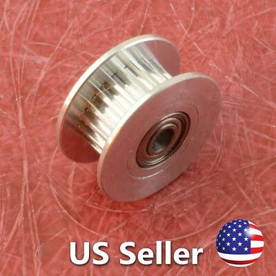 3D Printer Idler Pulley Aluminum Dual Ball Bearing 3mm Bore 20 Teeth GT2 Belt
