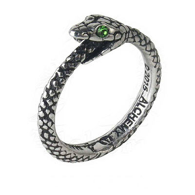 Alchemy Gothic Pewter Green Crystal Sophia Serpent Ouroboros Ring UK Made R206