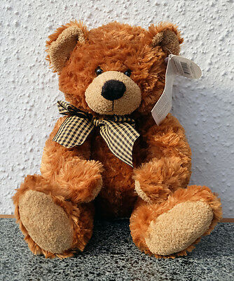 29cm Russ Berrie Collectable Bear With Neck Bow Small Brown CE Teddy