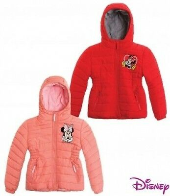 Girls Disney Minnie Mouse winter coat padded quality jacket hooded 3-4-5-6-7-8