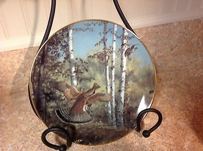 "PLATE PORCELAIN ""HAPPY DEPARTURE"" COA C 8069 DANBURY MINT  the game birds"