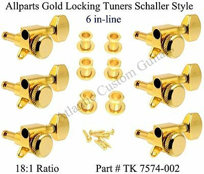 NEW Allparts 6 In Line GOLD LOCKING TUNERS for Fender Strat & Tele