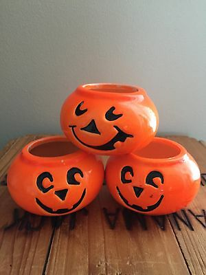 Set Of 3 Bright Orange pumpkins Small Ceramic Candleholders Halloween JOL Candle