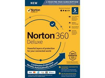 Norton 360 Deluxe 2019 5-Devices PC/MAC/Android/iOS