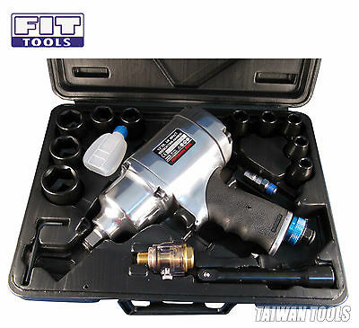 "FIT 1/2"" Heavy Duty Dr Air / Pneumatic Impact Wrench Kit 8 Select 780ft 1055Nm."