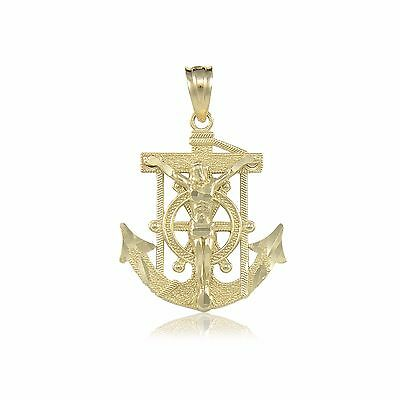 10K Solid Yellow Gold Jesus Crucifix Anchor Pendant Mariner Cross Necklace Charm