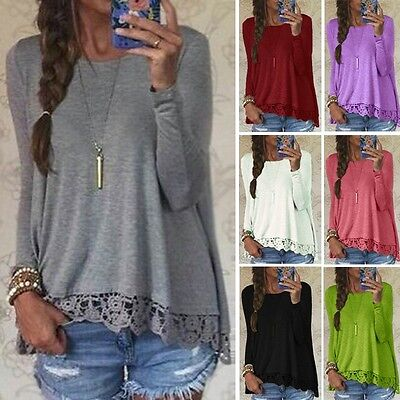UK 8-24 New Women Ladies Long Sleeve Lace T Shirt Blouse Top Casual Loose Tops