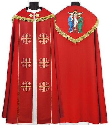 Red Gothic Cope Crucifixion with matching stole K009-Ch6f us