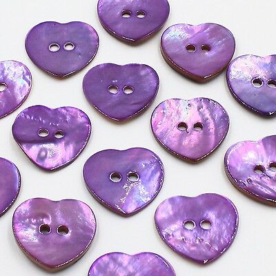 Lot 10 20mm 32L Natural Purple Heart Real Pearl Shell Button DIY Crafts Project