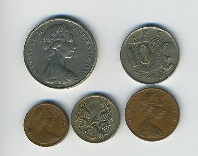 Australia - Lot of 5 Coins - 1, 2, 5, 10 & 20 Cents - Exotic Animals - Lot - #22