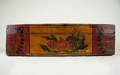 A Chinese Antique Wood Jewelry Treasure Box w/ Peach Flower Pattern 11.75 in.