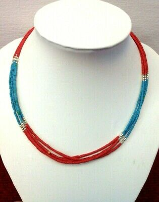 Afghan Natural Turquoise, Coral Tiny Seed Small Mini Beads Necklace Vintage Boho