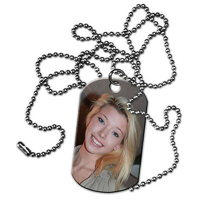 Custom Personalized with Your Photo or Text Dog Tags with Beaded Chain 1 Sided