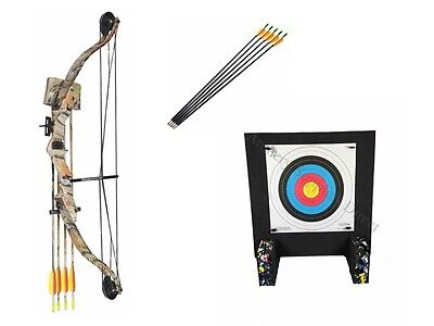 Archery Typhoon Adult / Youth Junior Camo Compound Bow Kit and Target Package