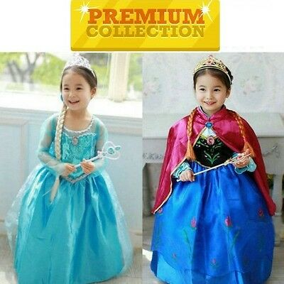 FROZEN Princess Anna Elsa Girls Costume Cape Birthday Premium Dress Express Post