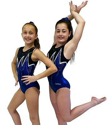 NEW BLUE WHITE BLACK SHINY FOIL W/ DIAMONTES CXS 42cm Sz 3-4 Gymnastics Leotard