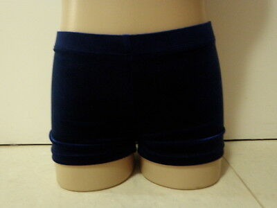 NEW NAVY BLUE VELVET BIKE SHORTS All Sz Gymnastics Leotard