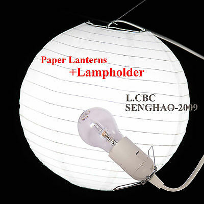 Bulk-12inch White Paper Lantern Wedding Party HomeDecoration+E27 Lampholder 1.8M